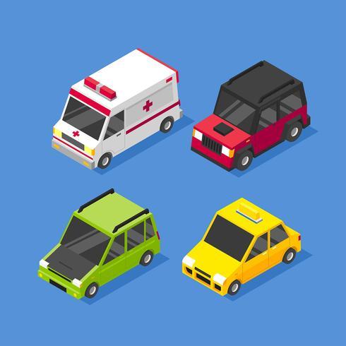 Isometrische stadsauto vervoer illustraties Set