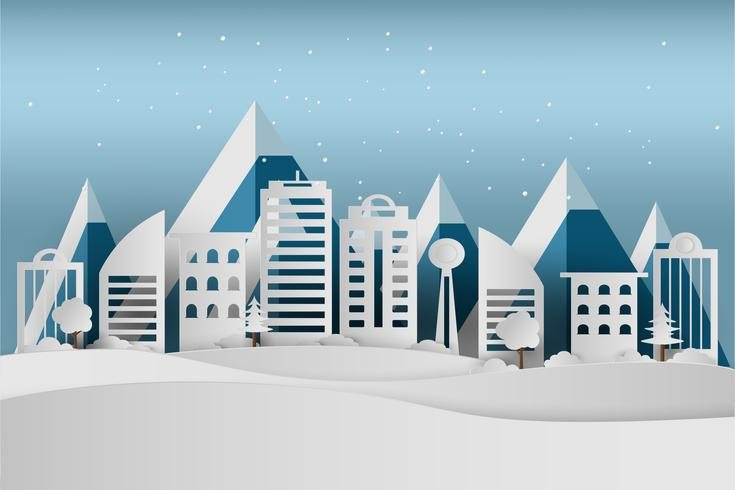 Feliz navidad y próspero año nuevo. Nieve de las vacaciones de invierno en parque en el fondo del paisaje urbano, el arte de papel y el estilo del arte.