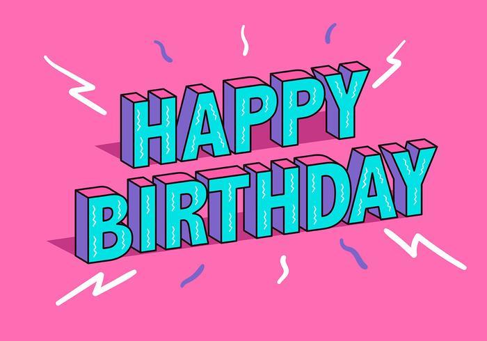 Tipografía de feliz cumpleaños en fondo rosa