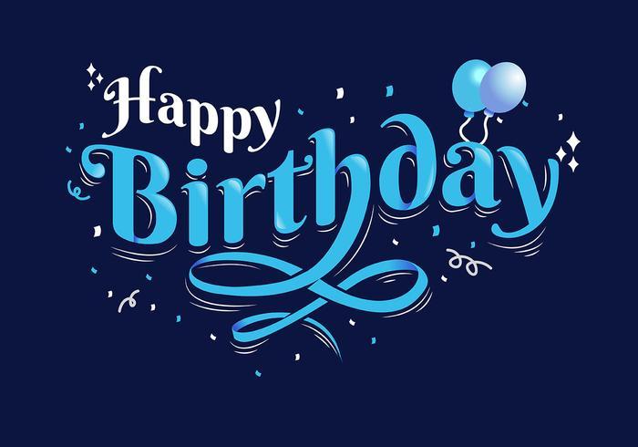 Tipografía de feliz cumpleaños en fondo azul oscuro
