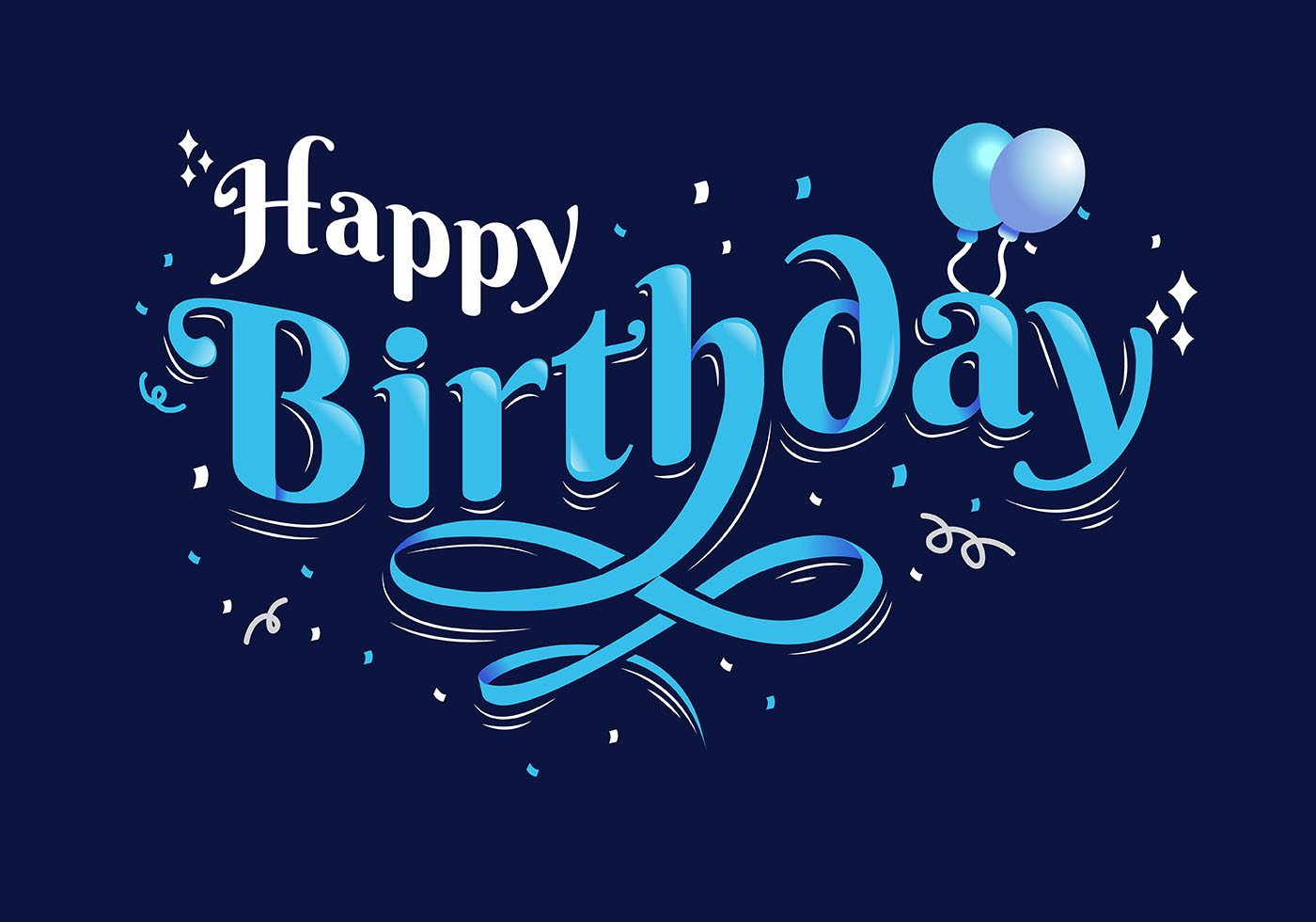 happy birthday typography in dark blue background