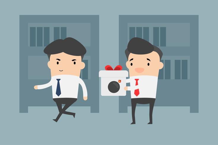 Concurrenten geven geschenken als bommen. Elimineer het concurrentenconcept. Zakenman op kantoor.