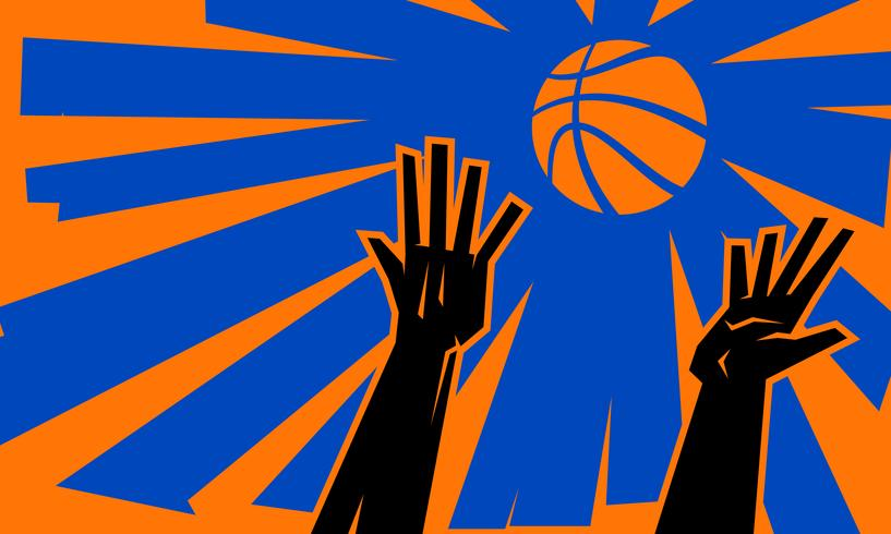 Vector illustration of two basketball players' hands reaching for a basketball