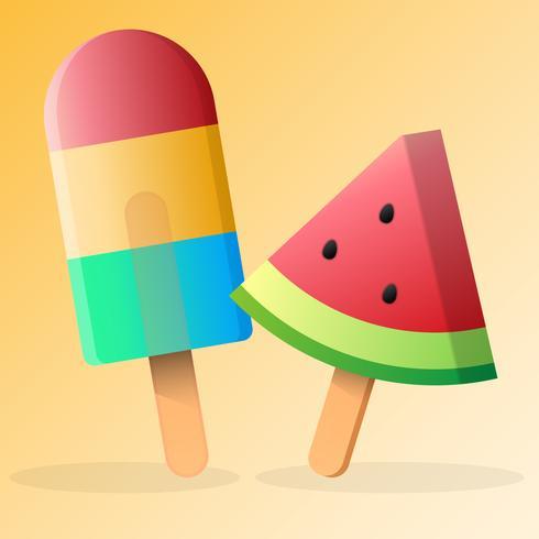 Conjunto de helado de vector de arco iris y sandía