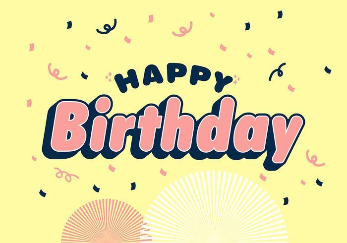 Grattis på födelsedagen typografi på glatt gul bakgrund