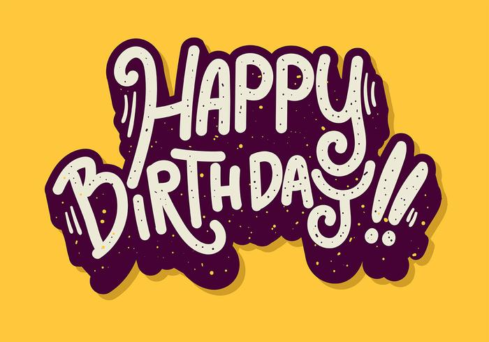 Feliz aniversário tipografia em fundo amarelo