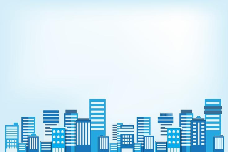 Fundo da paisagem urbana. Arquitectura da cidade lisa do estilo dos edifícios. Arquitetura moderna. Paisagem urbana. Ilustração vetorial copie o espaço para texto, anúncios, imagem e ícone.