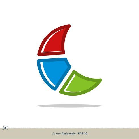 Luna colorida Vector Logo plantilla ilustración diseño