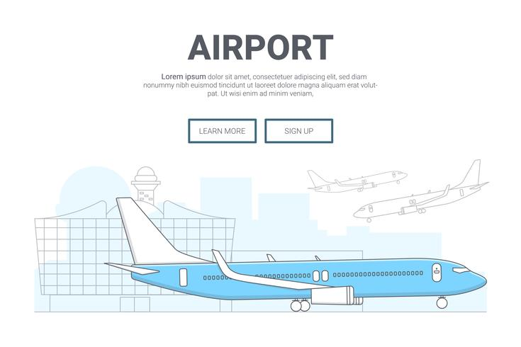 Landscape airplane on airport background  design for landing
