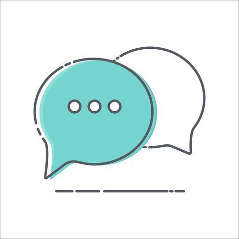 Icono colorido de la línea fina de la burbuja del discurso del comentario en el fondo blanco;