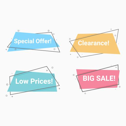 Set of Flat linear promotion ribbon banner.