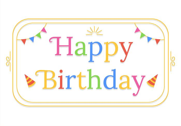 Tipografía de feliz cumpleaños en fondo blanco vector