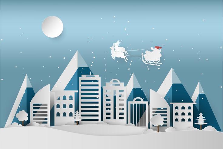 Feliz Natal e Feliz Ano Novo. Papai Noel no céu. Neve do feriado de inverno no parque no fundo da arquitetura da cidade, na arte de papel e no estilo do ofício. vetor