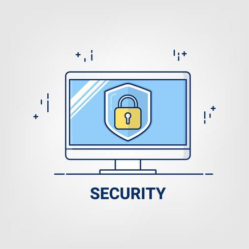 Ícone de arte linha fina plana. Conceito de negócio on-line de segurança de Internet.
