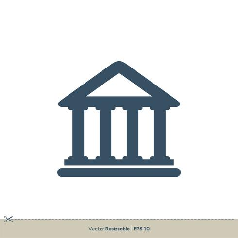 Logo Icon Illustration Design dell'icona della costruzione della corte