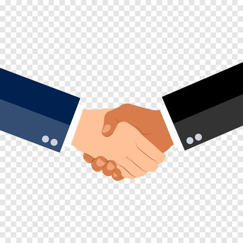 Schudden handen plat ontwerpconcept op tranparent achtergrond. Handdruk, zakelijke overeenkomst. partnerschap concepten. Twee handen van zakenman schudden. Vector illustratie.