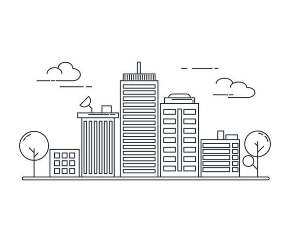 Estilo de arte de linha fina. design para a faixa de site de tema de idéia urbana paisagem urbana.