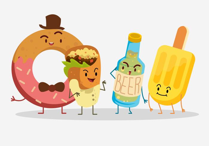 Ilustração vetorial de caráter de alimentos e bebidas de verão
