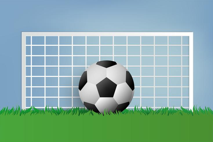 Football on green grass. paper art style.