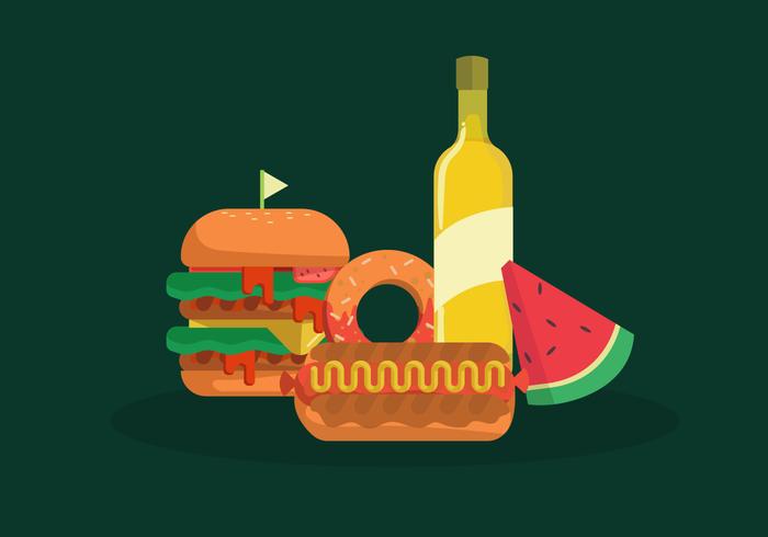 Zomer voedsel Vector vlakke afbeelding