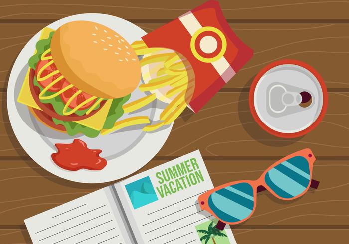 zomer eten bovenaanzicht vectorillustratie