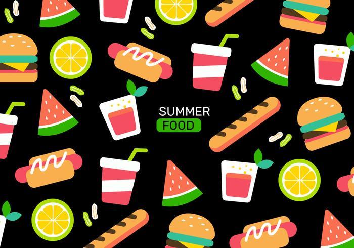 Kleurrijke zomer voedsel patroon vectorillustratie