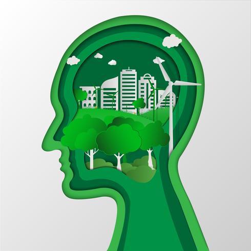 Conservazione dell'ambiente di pensiero della testa umana. Paesaggio naturale e concetto eco-compatibile. concetto di origami ed ecologia idea, salvare il mondo pianeta terra concetto. Concetto di Giornata mondiale dell'ambiente .;