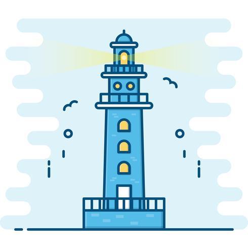 Line art style. Lighthouse vector.  vector
