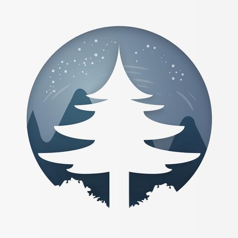 Pijnboom op bos bij de winter. Vrolijk kerstfeest en een gelukkig nieuwjaar. papierkunst en ambachtelijke stijl.