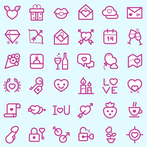 Conjunto de iconos de día de San Valentín
