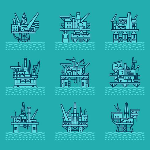 Oil platform icons set. vector