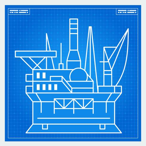 Oil platform rig blueprint scheme vector