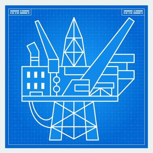 Oil platform rig blueprint scheme vector