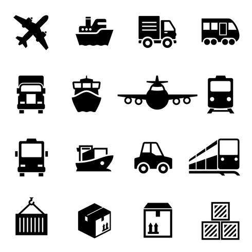 Shipping logistics deliver icons vector