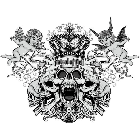 emblema gótico com crânio