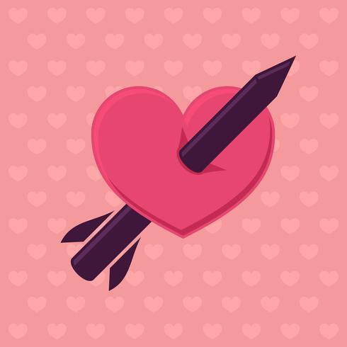 Bleistift durchbohren Herzsymbol.
