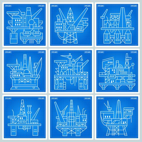 Oil Platforms blueprint vector
