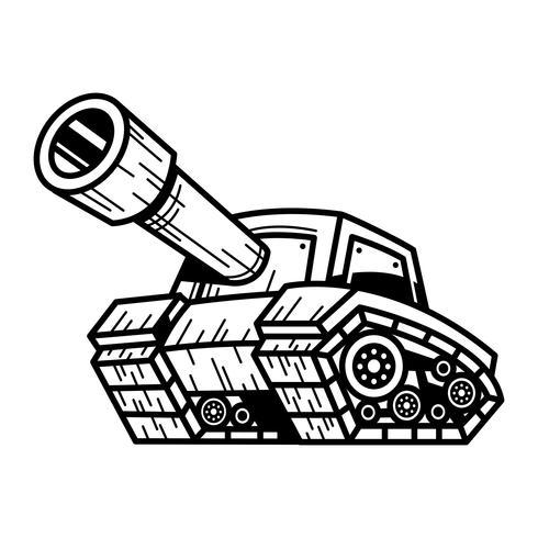 De Tankmachine van het beeldverhaalleger met Groot Kanon Klaar om vectorillustratie te vuren