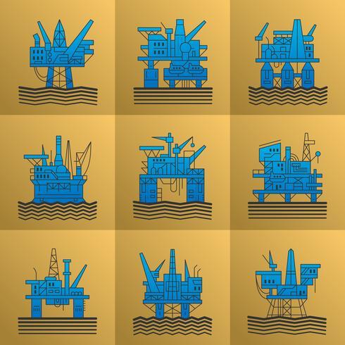 Conjunto de iconos de plataforma de petróleo.