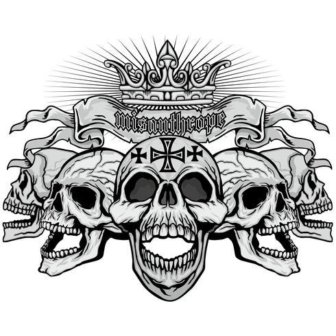 grunge schedel wapenschild
