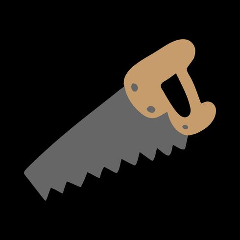 Mão viu a ferramenta de construção para cortar madeira. Ilustração dos desenhos animados