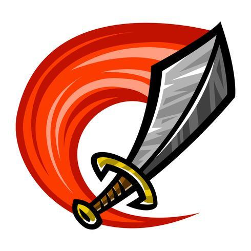 Icona del fumetto di vettore di metallo spada
