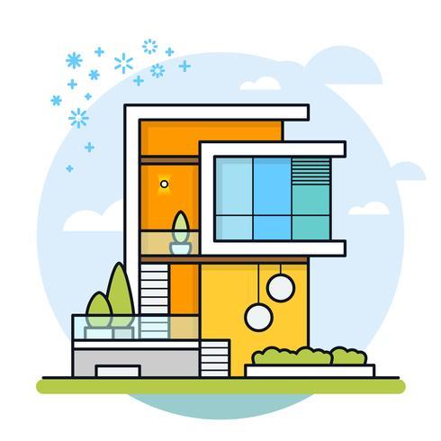 Ilustración de vector de casa moderna.