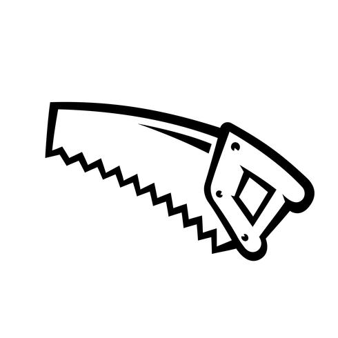 Strumento per la costruzione di seghe a mano per il taglio del legno. Illustrazione di cartone animato