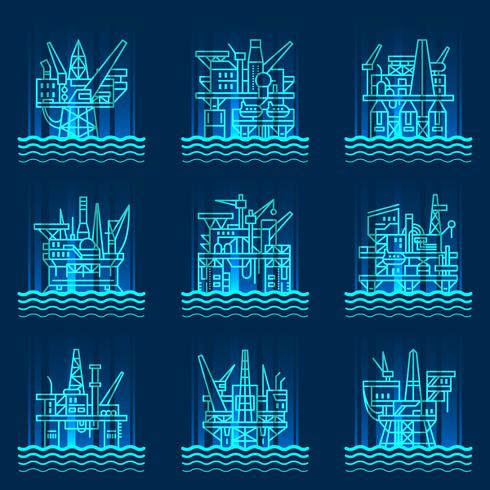 Oil platform icons set.