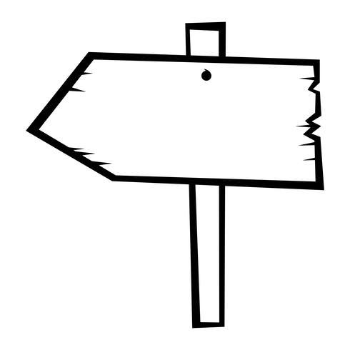 Gammal trä tecken vektor ikon
