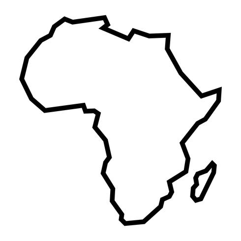 Gedetailleerde kaart van Afrika continent in zwart silhouet