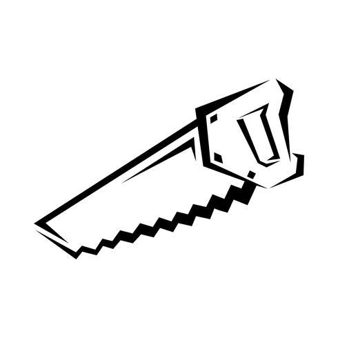 Sierra de mano herramienta de construcción para cortar madera. Ilustración de dibujos animados