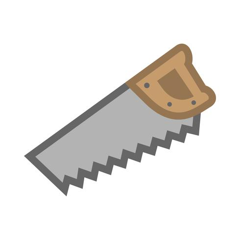 Handsågverktyg för skärning av trä. Tecknad illustration