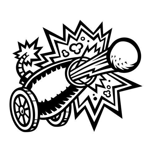 War Cannon Firing Cannonball-Vektor-Symbol